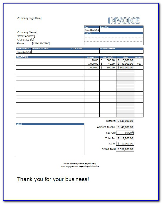 T Shirt Order Invoice Template