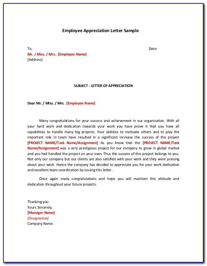 Template Employee Recognition Letter