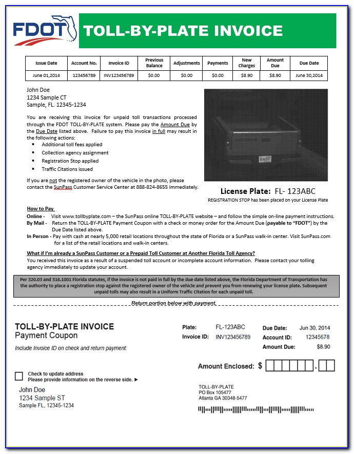 Toll Enforcement Invoice Fl