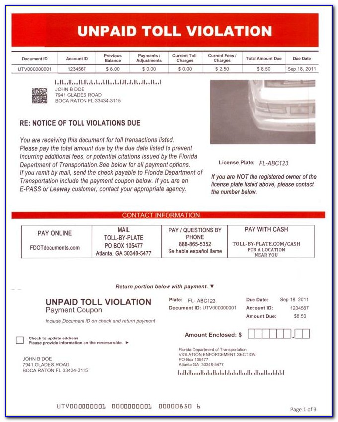 Toll Enforcement Invoice Payment Florida