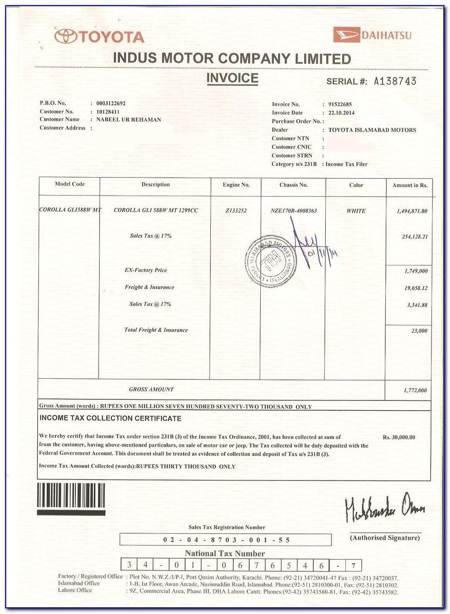 Toyota Corolla Invoice 2019
