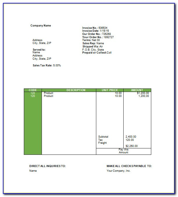 Travel Agency Invoice Format Word Download