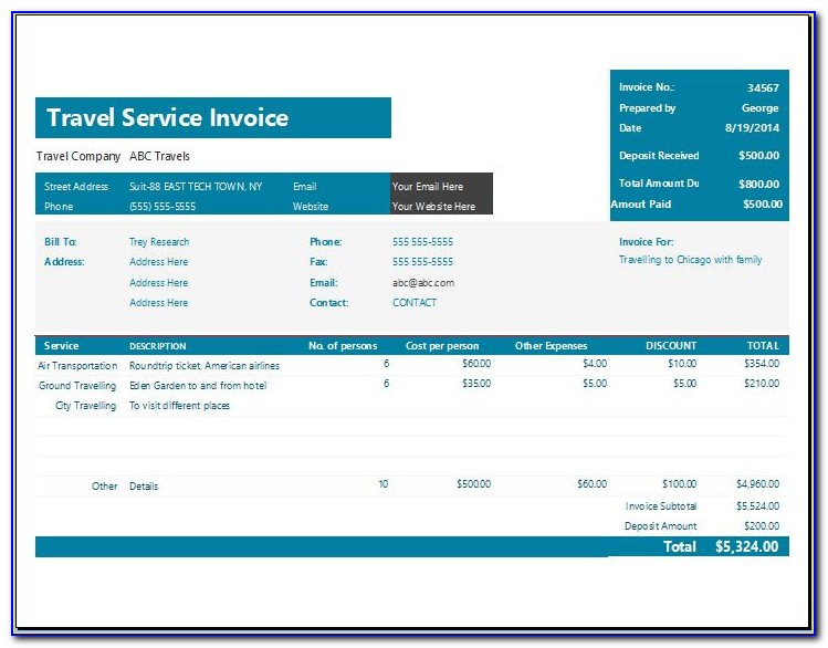 Travel Invoice Template Word