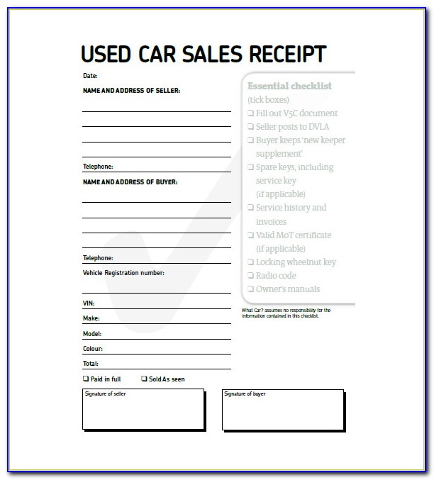 Used Car Invoice Template Free
