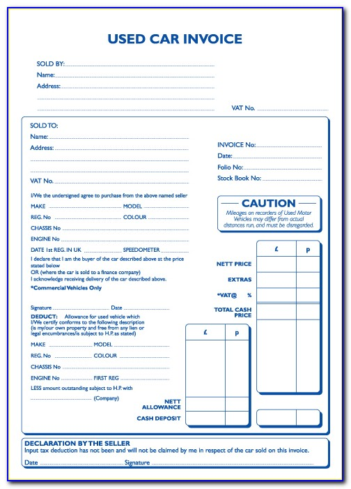 Used Vehicle Invoice Template