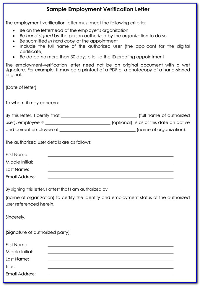 Verification Of Employment Letter Sample Template Word