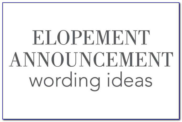 We Eloped Announcement Wording
