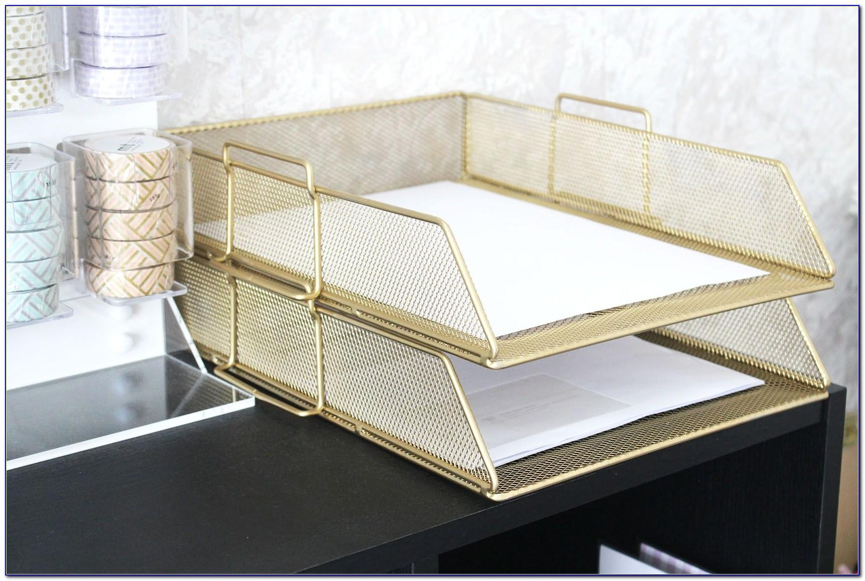 White And Gold Letter Tray
