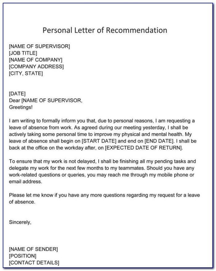 Writing Personal Recommendation Letters Examples