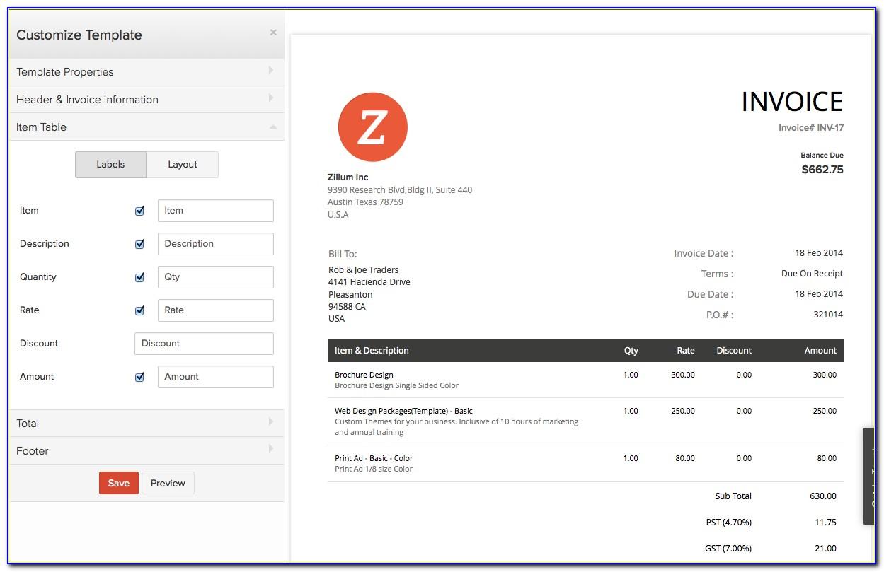 Zoho Free Invoice Generator