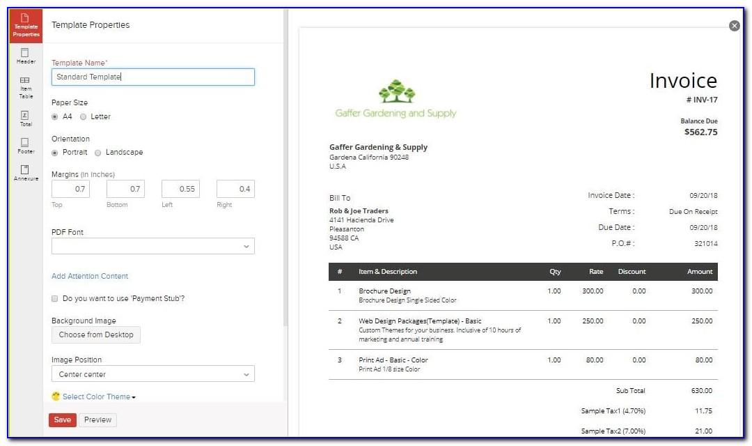 Zoho Invoice Fees