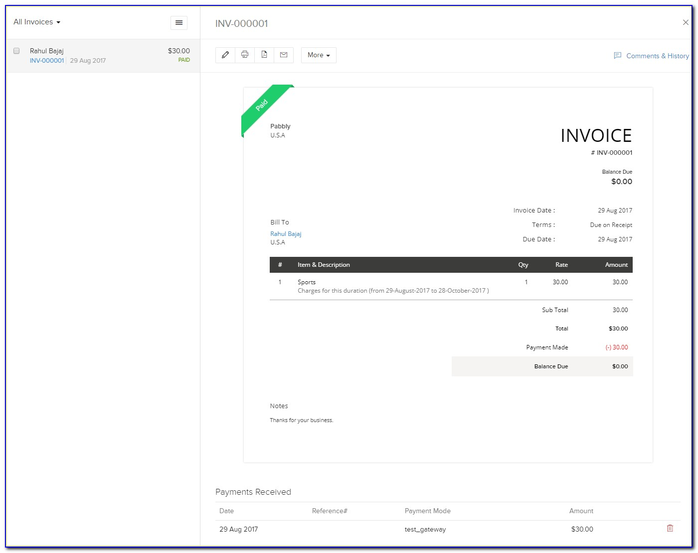 Zoho Invoices Freelancer