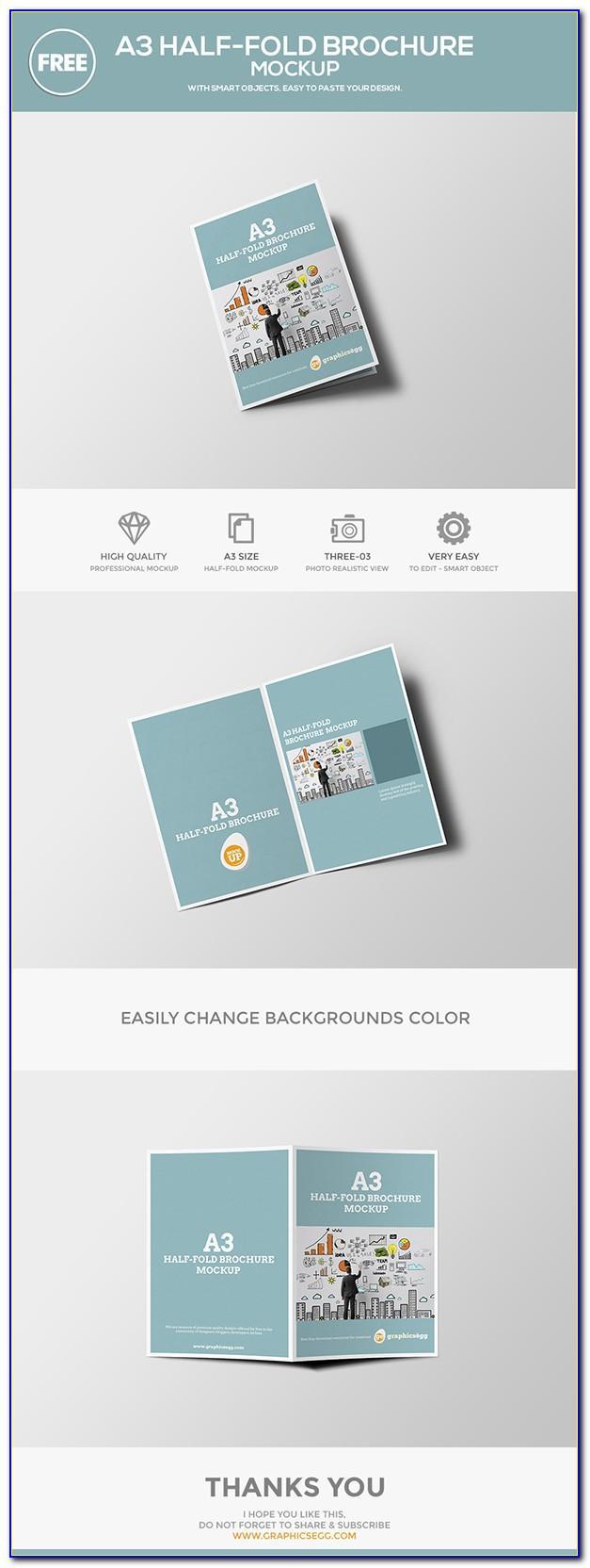 A4 Half Fold Brochure Mockup