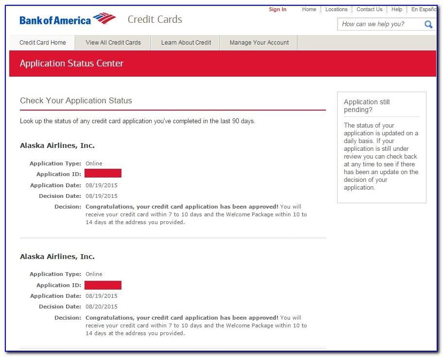 Alaska Airlines Business Credit Card Application Status