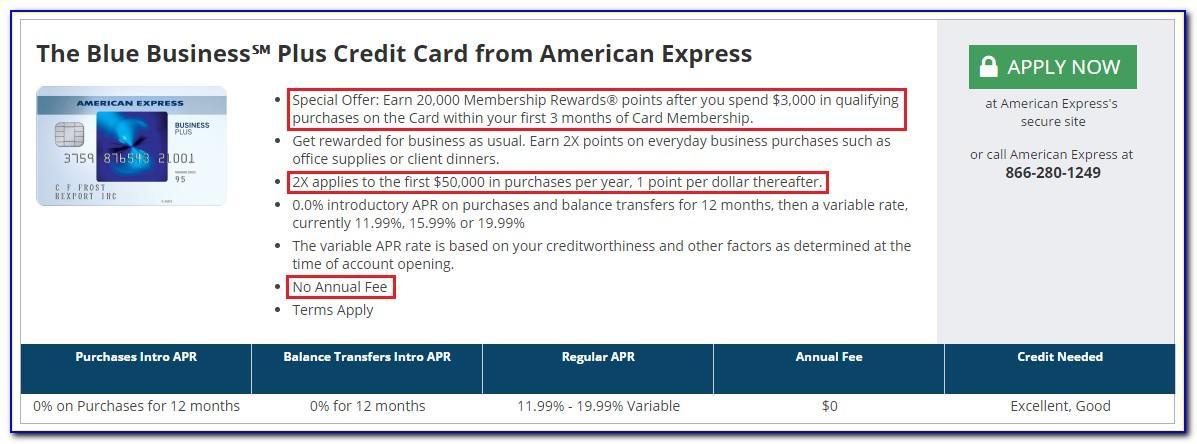 American Express Blue Business Card Credit Score