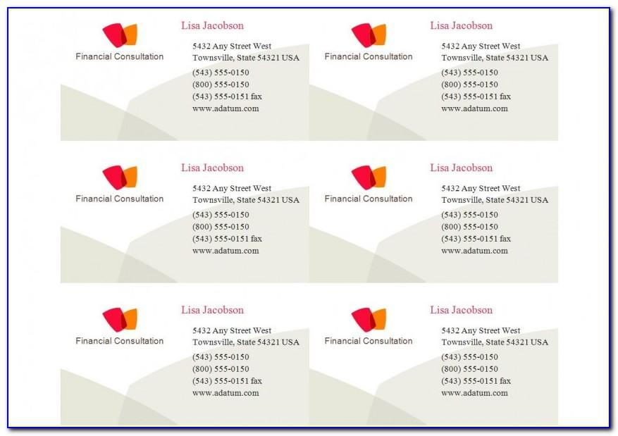 Avery 5371 Business Card Template Word