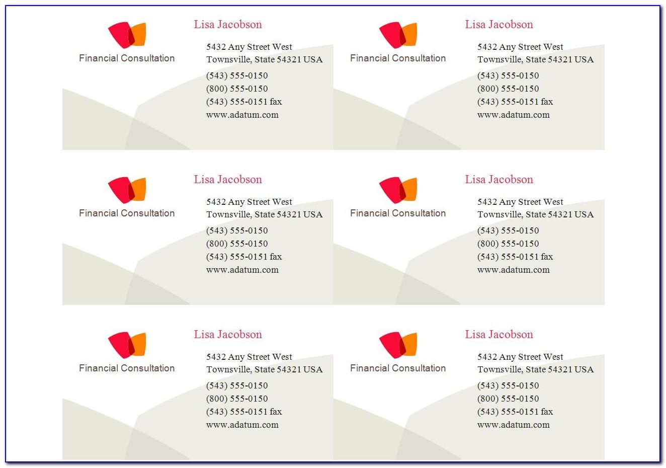 Avery Business Card Stickers