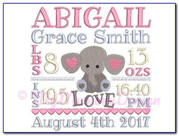 Baby Birth Announcement Embroidery Design