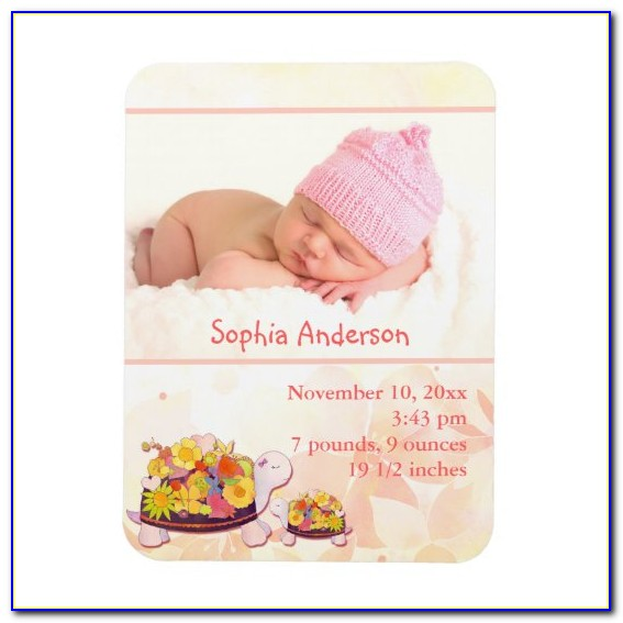 Baby Girl Announcement Magnets