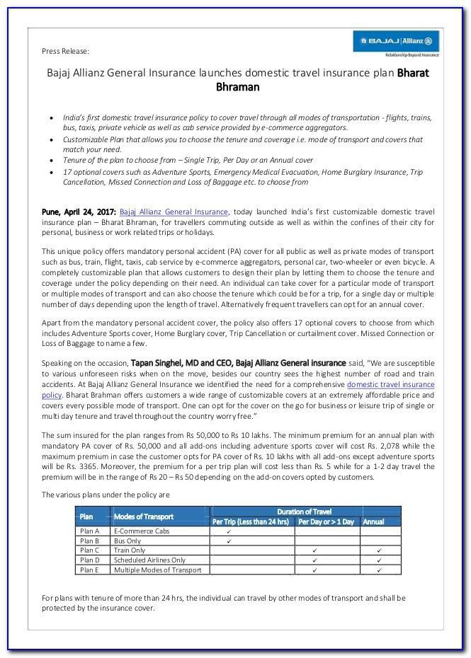 Bajaj Allianz Travel Insurance Brochure 2019