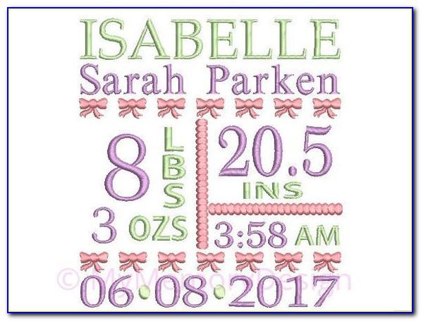 Birth Announcement Machine Embroidery Design