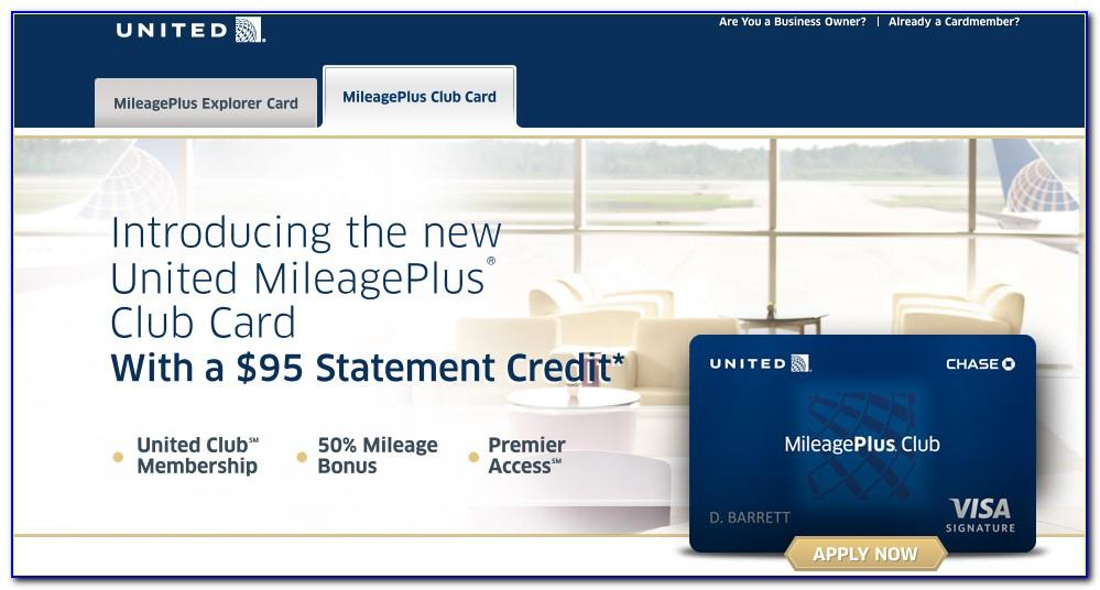 Chase United Mileageplus Club Business Card