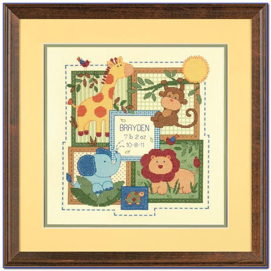 Counted Cross Stitch Birth Record Boy