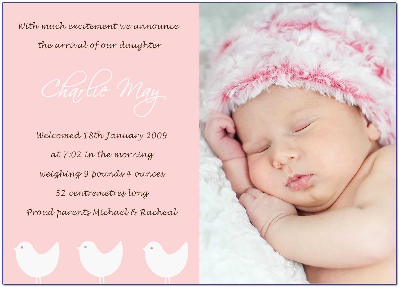 Cute Baby Girl Birth Announcements