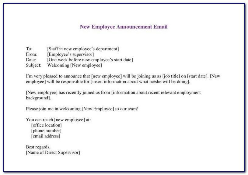 Employee New Baby Announcement Email To Hr
