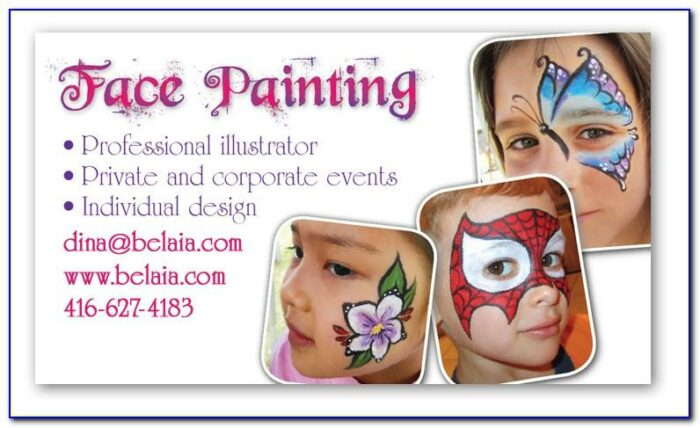Face Painting Business Cards Templates