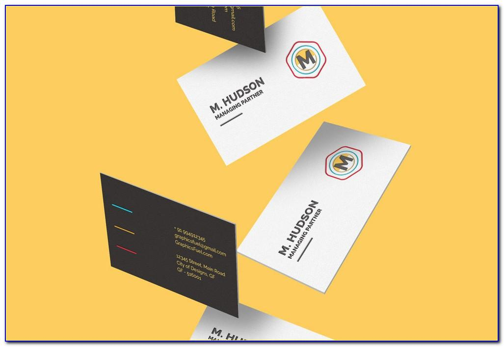 Falling Business Card Mockup Free