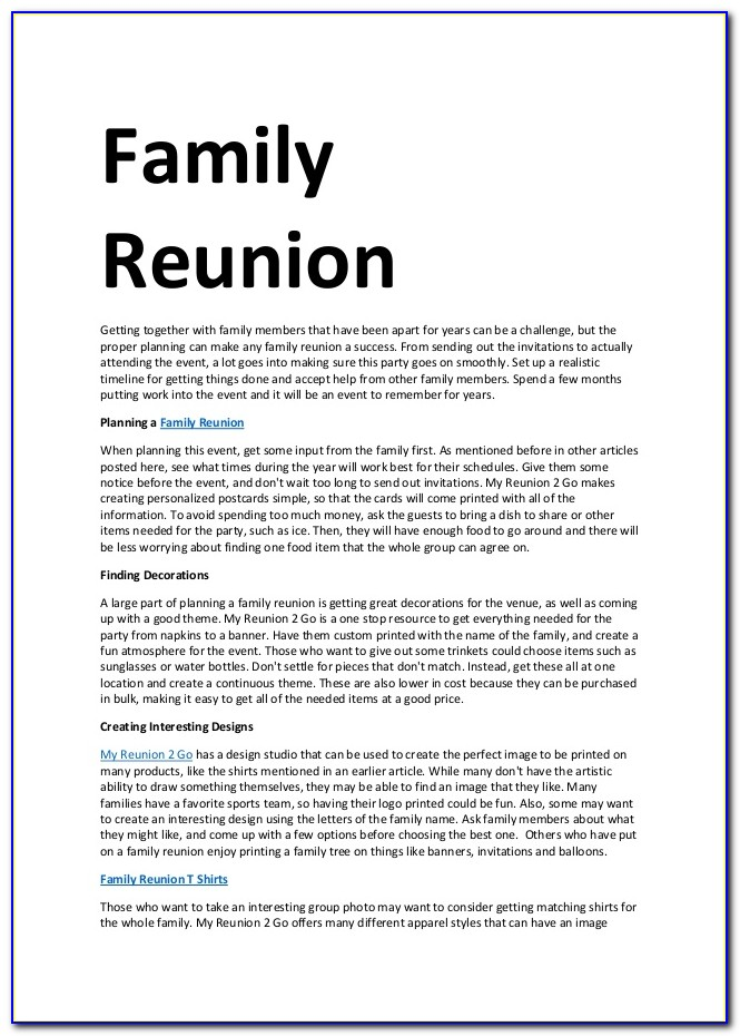 Family Reunion Announcement Letter