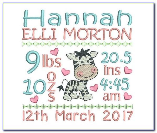 Free Birth Announcement Embroidery Design