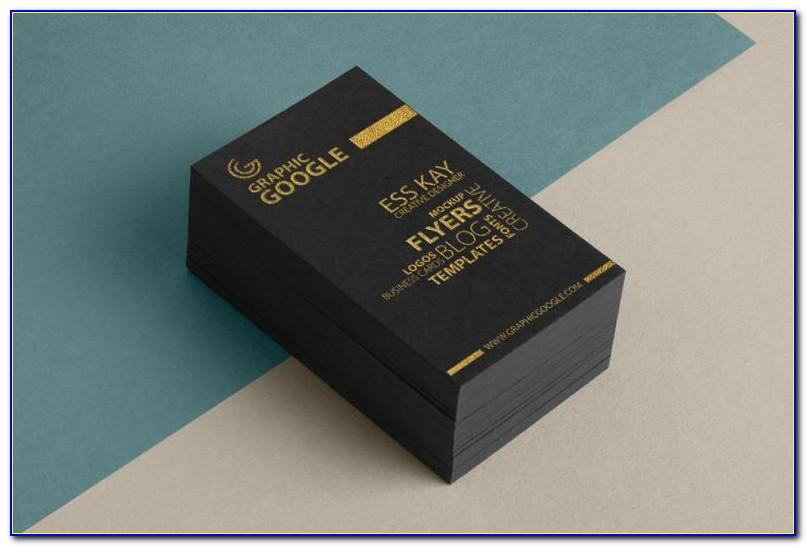 Free Black With Gold Foil Lettering Business Card Mockup Psd