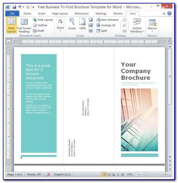 Free Tri Fold Brochure Template Word Blank