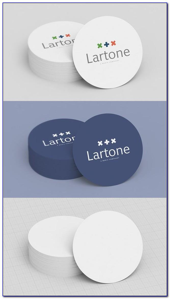 Free White Circle Business Card Mockup