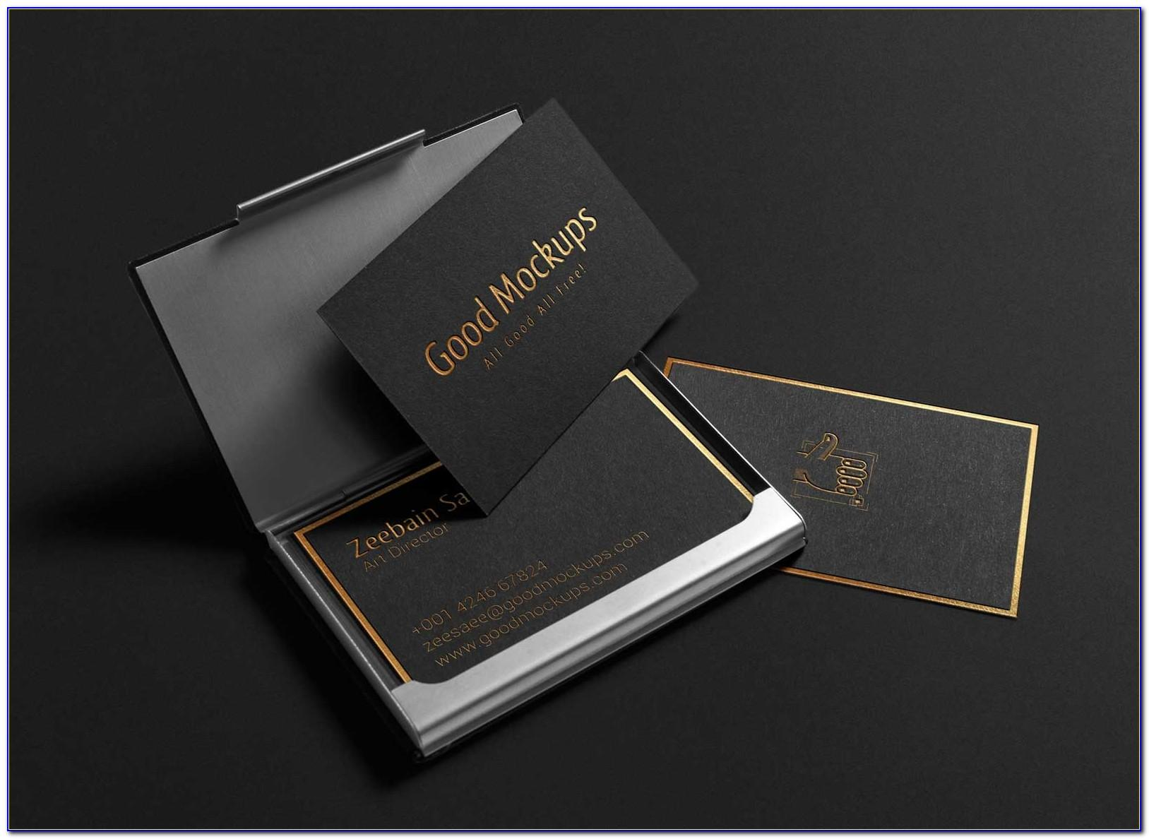 Gold Foil Business Card Mockup Free
