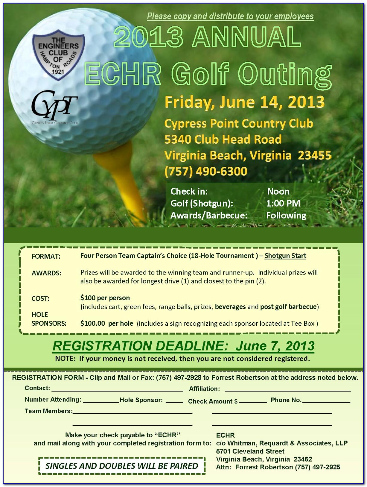 Golf Tournament Tri Fold Brochure Template