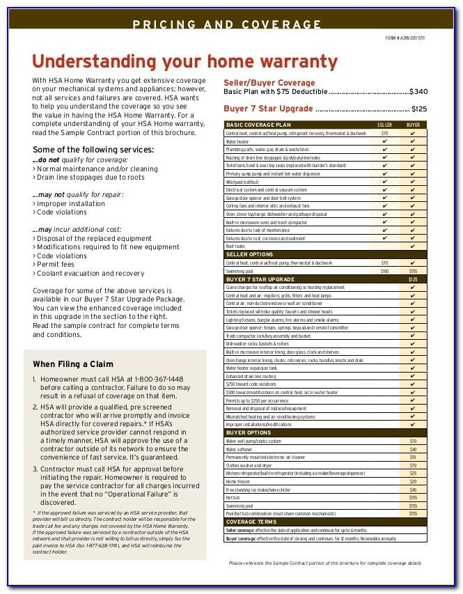 Hsa Home Warranty Brochure 2019