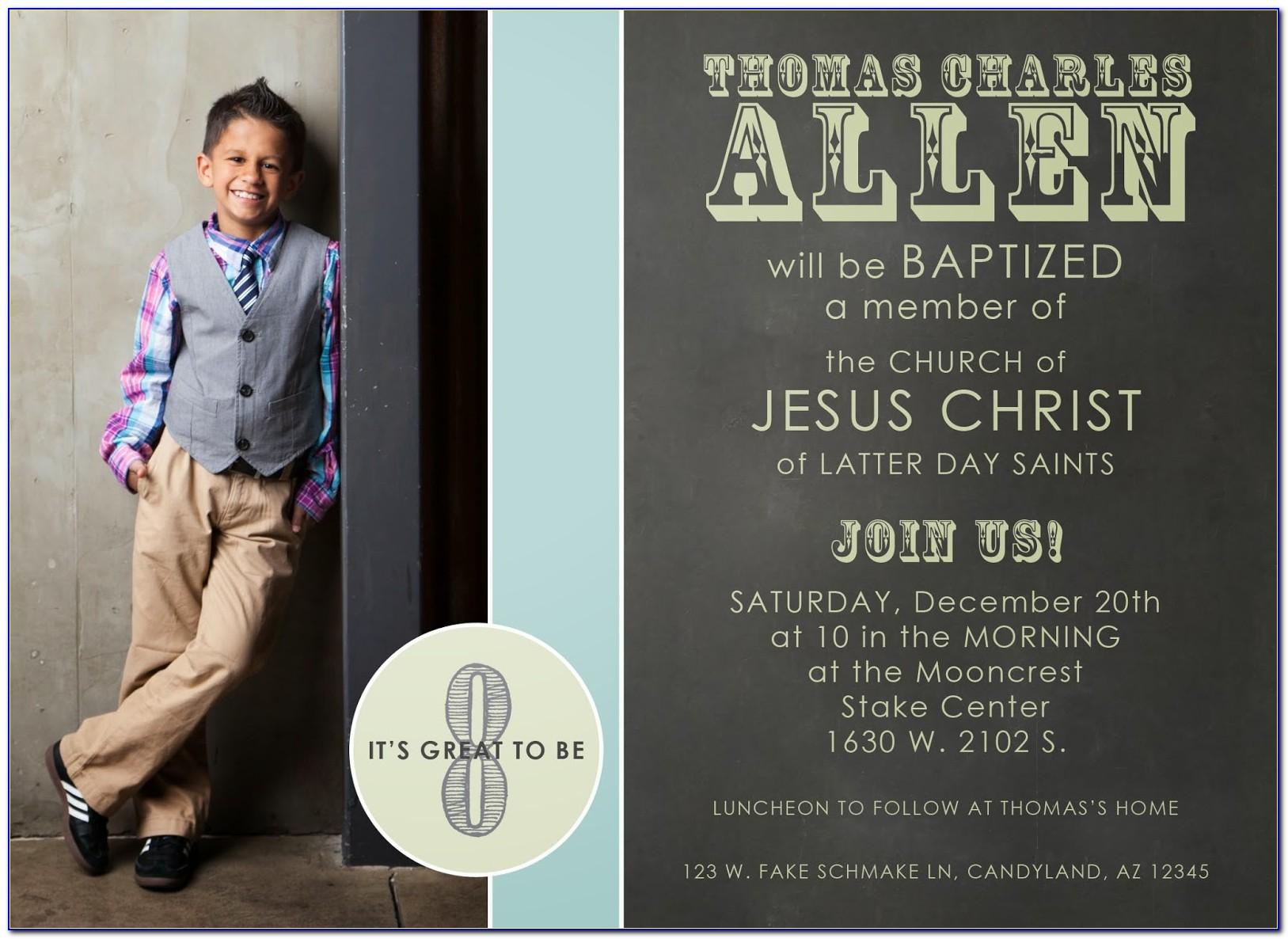 Lds Baptism Invitation Photo Card