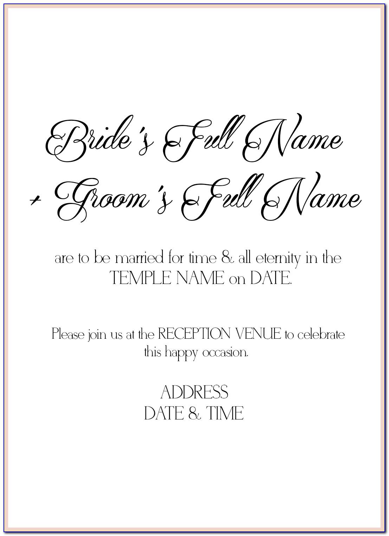 Lds Wedding Invitations Wording