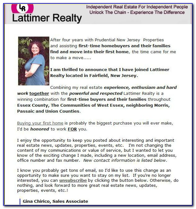 New Real Estate Agent Introduction Letter Sample