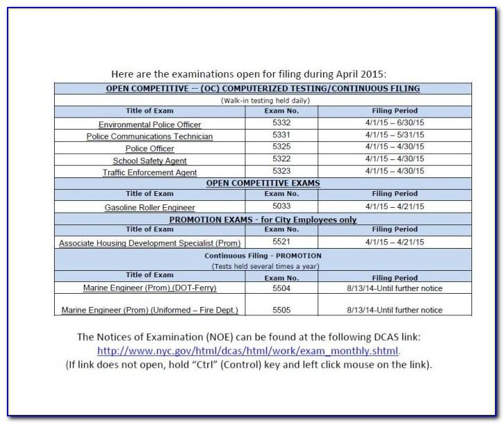 Nys Civil Service Examination Announcements
