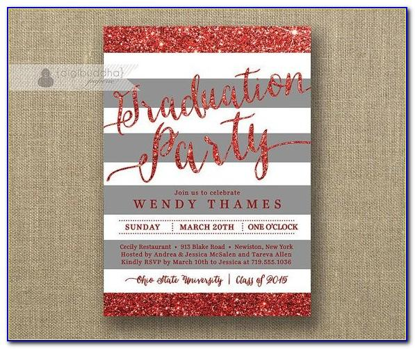 Ohio State University Graduation Party Invitations