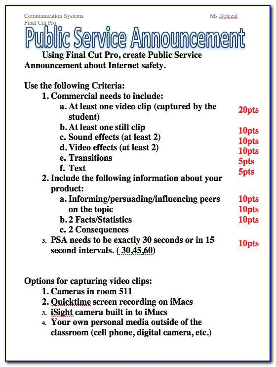 Public Service Announcement Examples Written