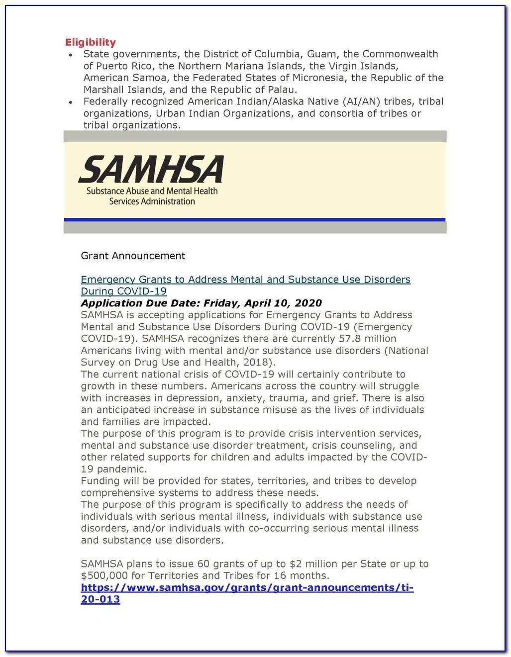 Samhsa Grant Announcements 2020