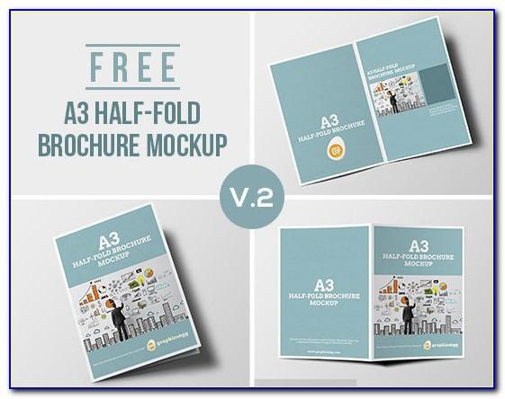 Single Gate Fold Brochure Mockup Free