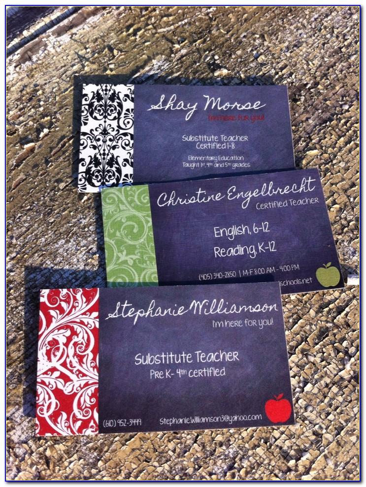 Substitute Teacher Business Card Designs