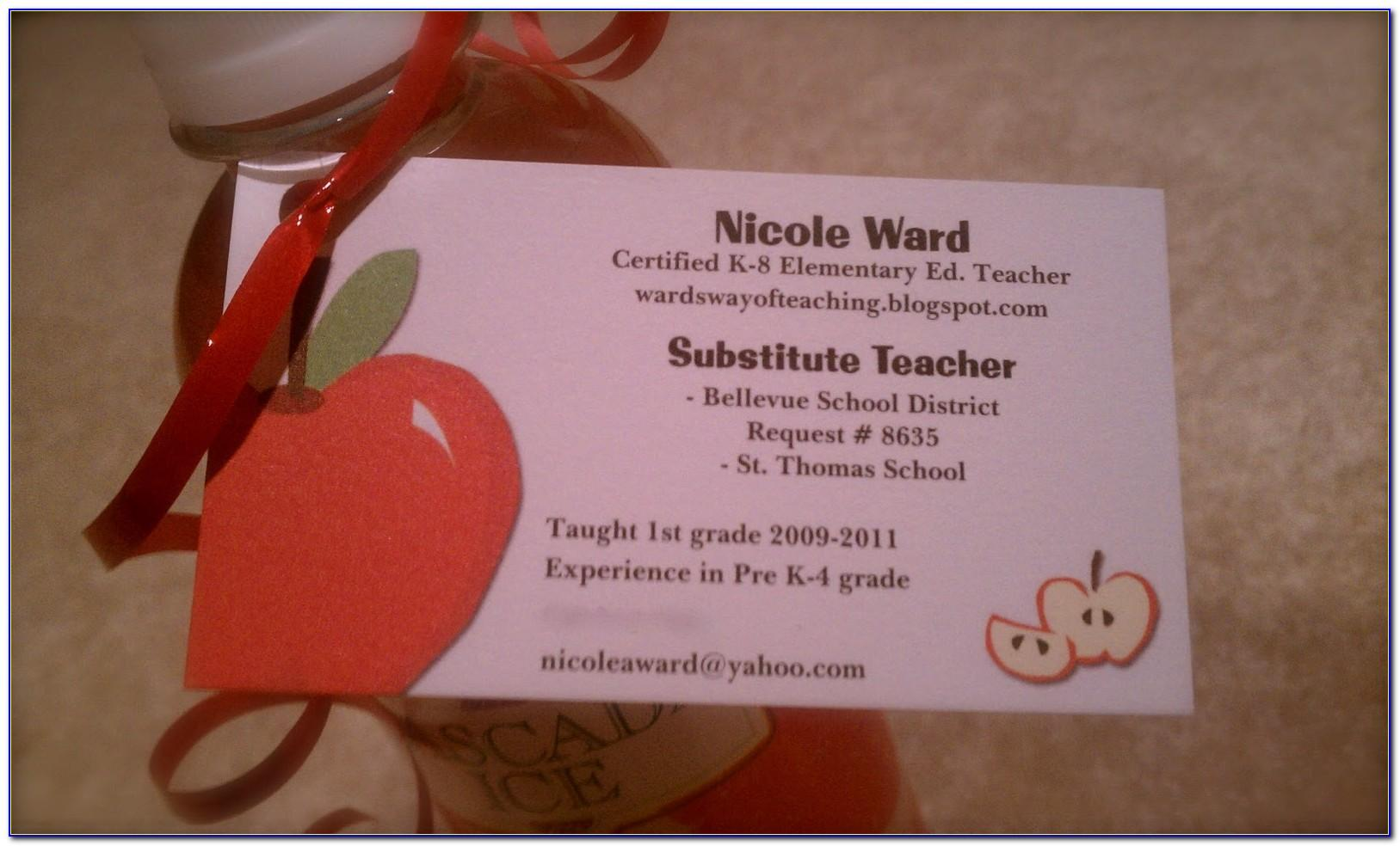 Substitute Teacher Business Cards Examples