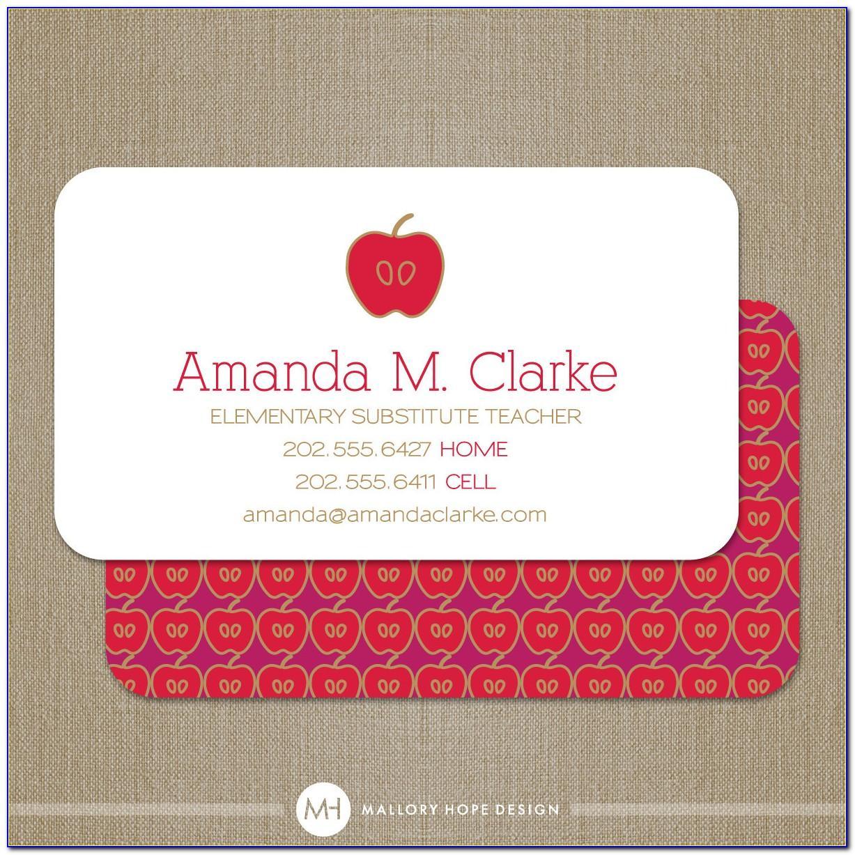 Substitute Teacher Business Cards Ideas